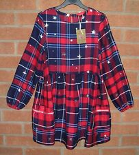 BNWT JOULES Girls Red Navy Tartan Christmas Dress Age 6 116cm NEW RRP £42.95