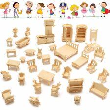 34 Pcs Wooden Miniature Dollhouse Furniture Model Unpainted Suite Toys 3D DIY