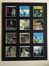 """BILLY FURY DISCOGRAPHY 14"""" BY 11"""" LP COVERS PICTURE MOUNTED READY TO FRAME"""