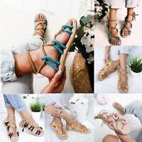 Summer Women Lady Flat Espadrille Lace Tie-up Sandals Platform UK Size 2.5-8.5