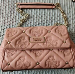 SAC A MAIN GUESS SHANINA VG743218 FEMME MATELASSE ROSE OCCASION COMME NEUF