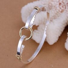 Fashion 925Sterling Solid Silver Jewelry Gold O Bangles Bracelet K083