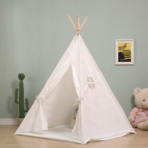 Kids Teepee Tent Wigwam Children Playhouse with Mat Indoor Outdoor Gift White