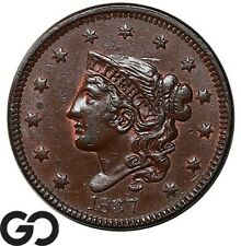 1837 Large Cent, Coronet Head, Very Choice AU++/Unc Better Date