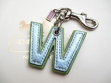 """Coach Leather Initial Alphabet Letter """"W"""" W Key Fob Chain Keychain Charm"""