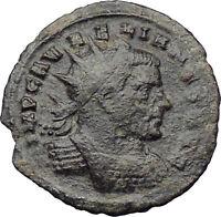 AURELIAN receiving wreath from Orbis 272AD  Ancient Roman Coin Rare i29952