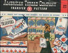 1940s Vintage Iron-On Transfer Red Blue Kitchen Fruit Border American Thread 123