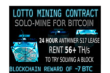 Bit coin SOLO Mining Lottery Cloud Mining Contract 56TH S17 Miner WIN 7 BTC! DGB