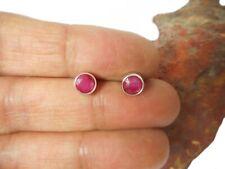 Round Pink  RUBY  Sterling  Silver 925 Gemstone Stud Earrings  -  5 mm
