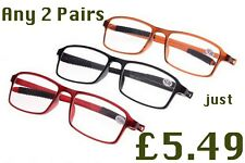 2 Pairs Bendable TR90 Near Short Sighted Myopia Distance Glasses 3 Colours NG45