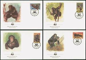 SIERRA LEONE WWF ANIMAL CHIMPANZEE full set (4) on FDC's 1983 #586-9 Mi 713-6