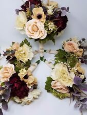French Mixed Flowers Wedding Bouquets For Bride and Bridesmaids, 5pcs