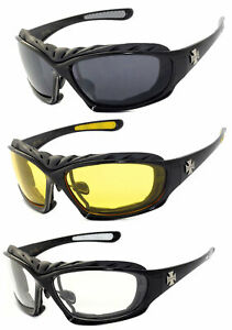 1,2 or 3 Pairs Choppers Padded Foam Wind Resistant Sunglasses Motorcycle Glasses