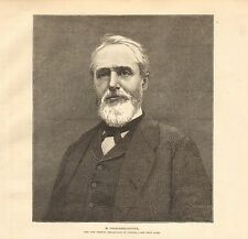 1880 ANTIQUE PRINT-M. CHALLEMEL LACOUR, NEW FRENCH AMBASSADOR IN  LONDON