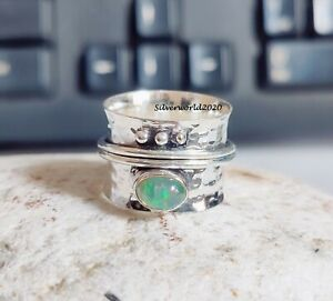 Opal Ring Spinner Ring 925 Silver Plated Ring Handmade Ring Size 10  mo318