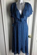EVA MENDES -Teal Blue/Multi Polka Dot Sleeveless Mid-calf Wrap Dress-Size 8