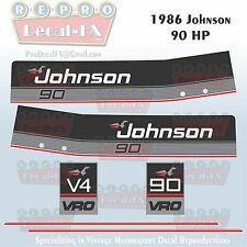 1986 Johnson 90 HP V4 Sea-Horse Outboard Reproduction 6 Pc Marine Vinyl Decals