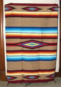 Saltillo Mexican Throw or Area Rug Tapestry Southwestern Lg 4x6' Acrylic GOLD