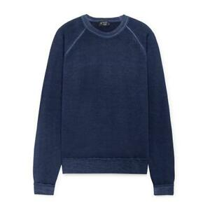 Men's Hackett, Garment Dyed Merino Wool Sweater in Indigo