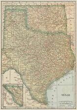 Texas state map showing railroads. POATES 1925 old vintage plan chart