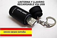 MINI LINTERNA Y LLAVERO RECARGABLE USB CAMPING COCHE BOTE LANCHA SUPERVIVENCIA