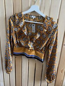 BNWT Ladies RIVER ISLAND mustard floral print cropped blouse top Size 6 ruffle