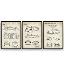 Porsche Set Of 3 Patent Prints - Sports Car Poster Art Decor Gift - Unframed