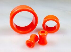 PAIR Solid Color Ear Tunnels Plugs Gauges Earlets - 3mm through 30mm available