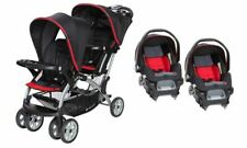 Baby Trend Double Stroller Sit N Stand With Two Car Seat Set Red/black
