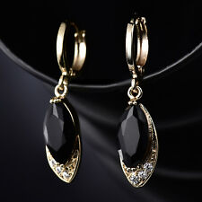6*12mm Dangle Marquise Black Crystal Yellow Gold Filled Women Wedding Earrings