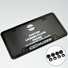 Honda Mugen Front Rear Black Metal License Plate Frame Cover Gift Accessories