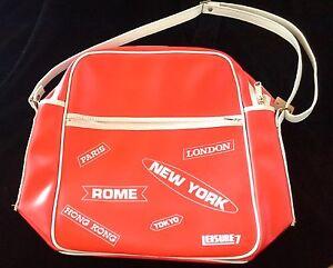 vintage airline travel bag HONG KONG unused w tag red vinyl zips LEISURE 7