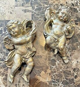 Vintage Hand Carved Cherub Angels Wall Hanging Wood Art Home Decor