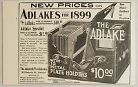1898 Print Ad Adlake Cameras for 1899 with 12 Metal Plate Holders Chicago,IL