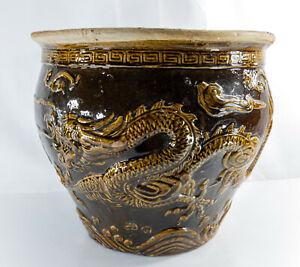 Large Vintage Antique Chinese Terracotta Brown Glazed Jardiniere Planter Dragons