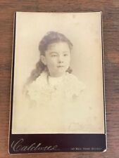 Victorian Antique Cabinet Card Photo Identified Young Girl Caldwell Photographer