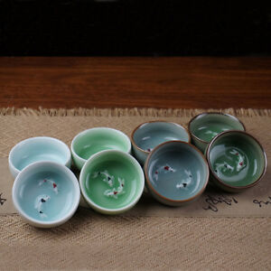 Longquan Celadon Pisces Cup Double fish Kung Fu teacup crackle glaze fish relief