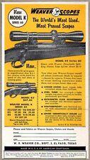 1954 Print Ad Weaver Model K Series 60 Rifle Hunting Scopes El Paso,TX