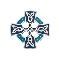 Celtic Cross Head Brooch Turquoise Silver Plated Brand New Gift Packaging