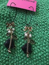 Huge Betsey Johnson Black Rose Earrings