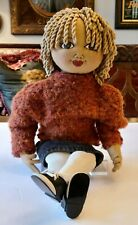 "Handmade Wool Felt All American Doll with Wool Sweater~Jean Skirt 23"" Tall �"