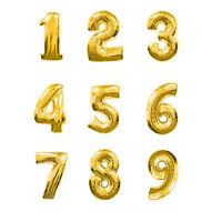 Ballons chiffres 0 à 9 en alu doré - décoration pour anniversaire ou fête