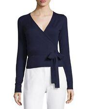 NWT Diane von Furstenberg Navy Blue Ballerina Wrap Sweater S $268