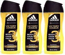 3x ADIDAS Victory League BODY HAIR FACE Wash Shower GEL GUARANA Stimulating