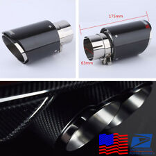 US Stock Real Carbon Fiber Car Auto Exhaust Pipe Muffler End Tip 63mm-89mm Gloss