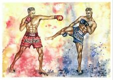 "Muay Thai Sport Fighter Boxing Watercolor Print from Original 12"" x 16.5"""