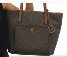 Michael Kors Jet Set Snap Pocket Tote Large MK PVC Brown Handbag Purse NWT