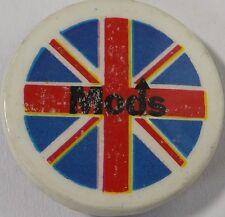"MODS Union Jack Vtg 70`/80`s Button Badge/Pin(Vespa Scooter Who)25mm-1""#mod.105"