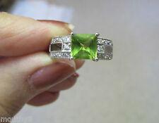 NEW 1.66 CTW  PERIDOT & DIAMOND 14k WHITE GOLD RING sz 6