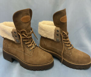 Bench Brown Size 38/5 Leather Chunky Ankle Laced Up Boot Fleece Lined Worn Once